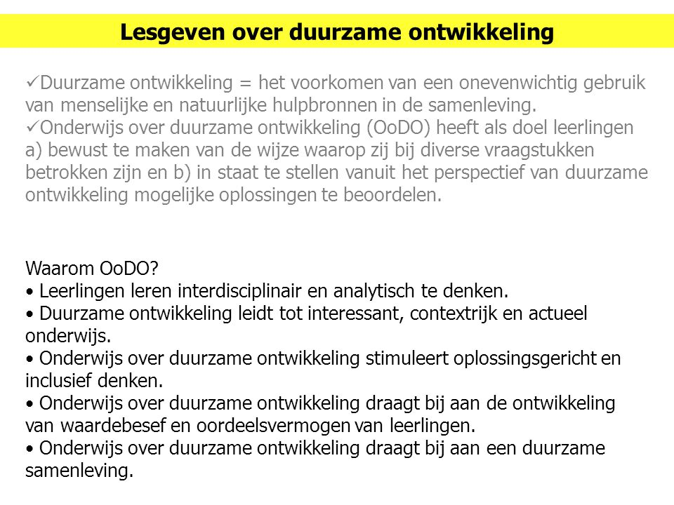 Lesgeven over duurzame ontwikkeling