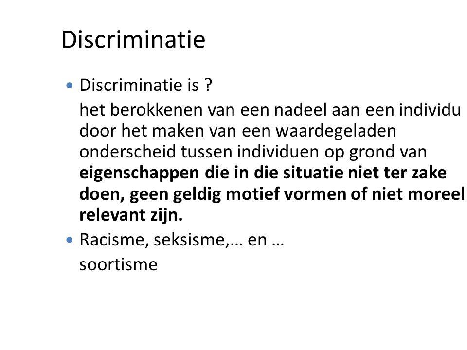 Discriminatie Discriminatie is