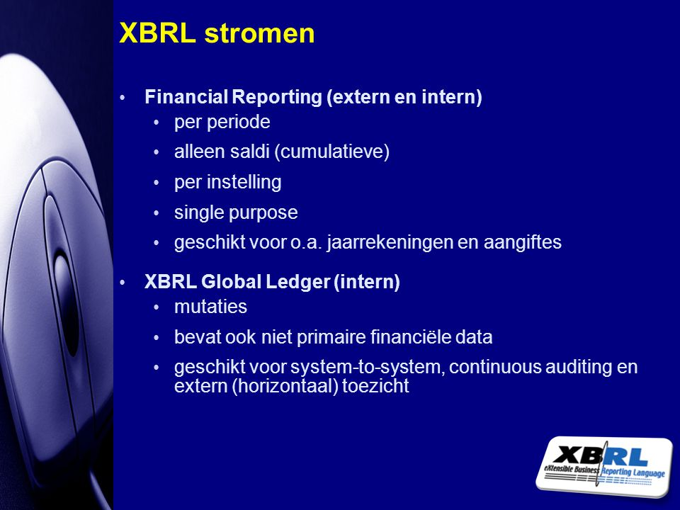 XBRL stromen Financial Reporting (extern en intern) per periode