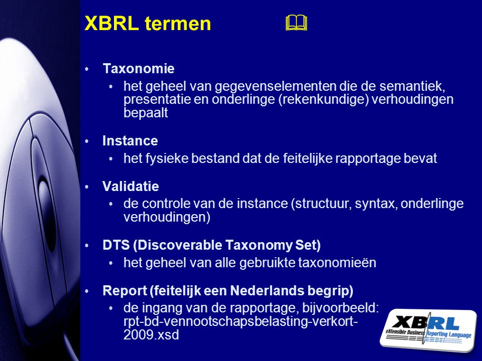 XBRL termen  Taxonomie