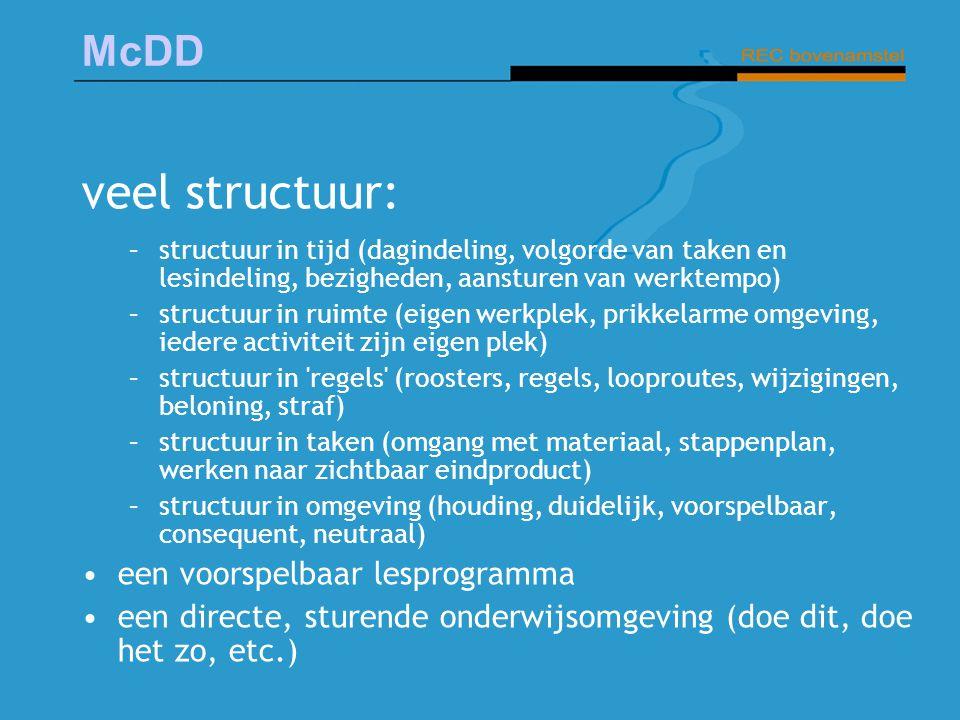 veel structuur: een voorspelbaar lesprogramma