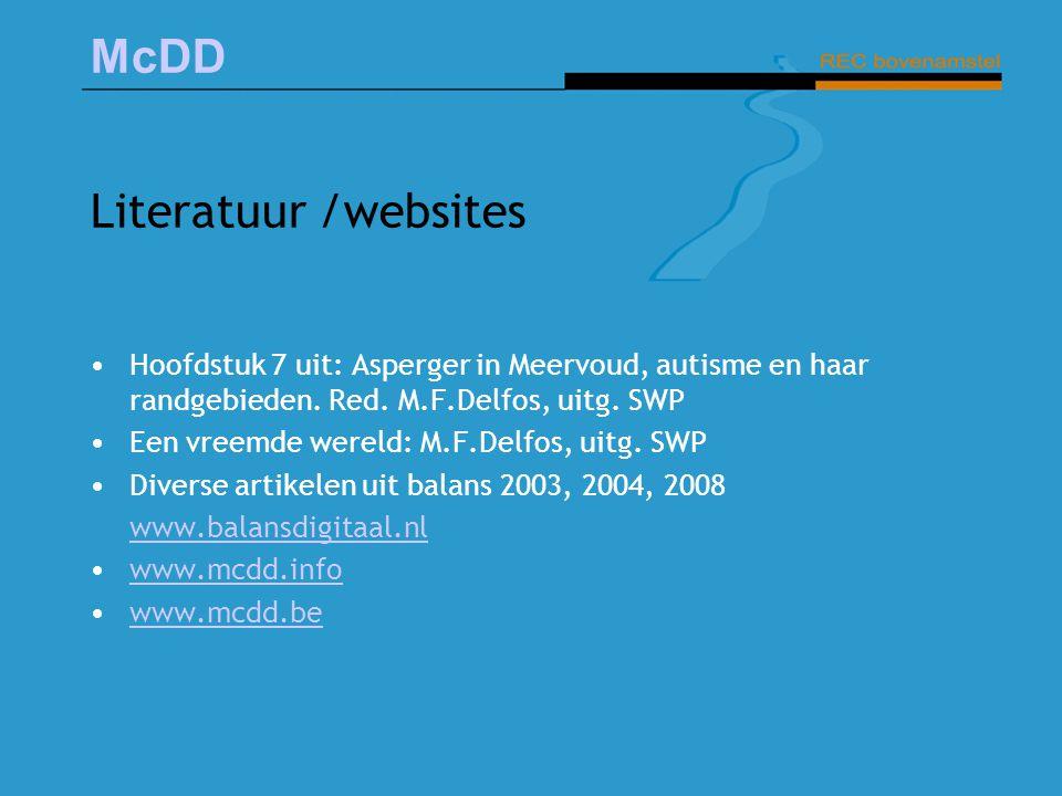 Literatuur /websites Hoofdstuk 7 uit: Asperger in Meervoud, autisme en haar randgebieden. Red. M.F.Delfos, uitg. SWP.