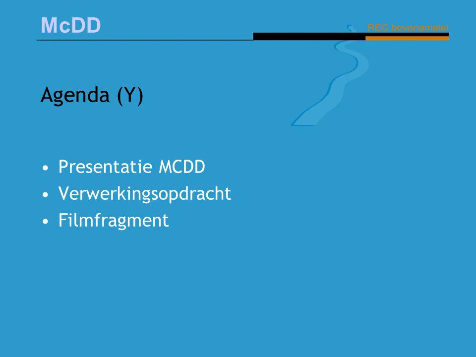 Agenda (Y) Presentatie MCDD Verwerkingsopdracht Filmfragment