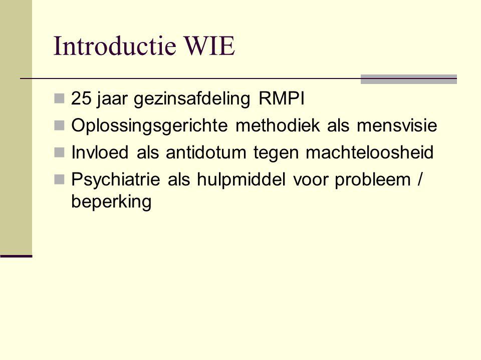 Introductie WIE 25 jaar gezinsafdeling RMPI