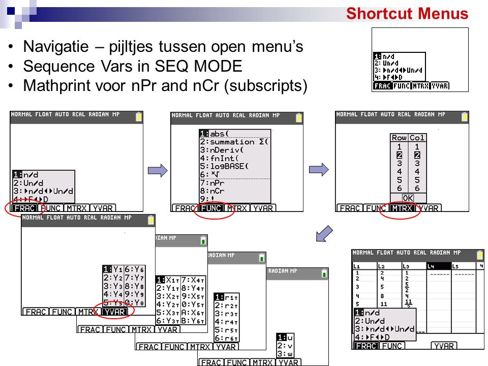 Navigatie – pijltjes tussen open menu's Sequence Vars in SEQ MODE