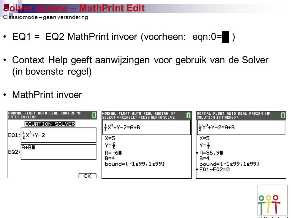 Solver Update – MathPrint Edit Classic mode – geen verandering