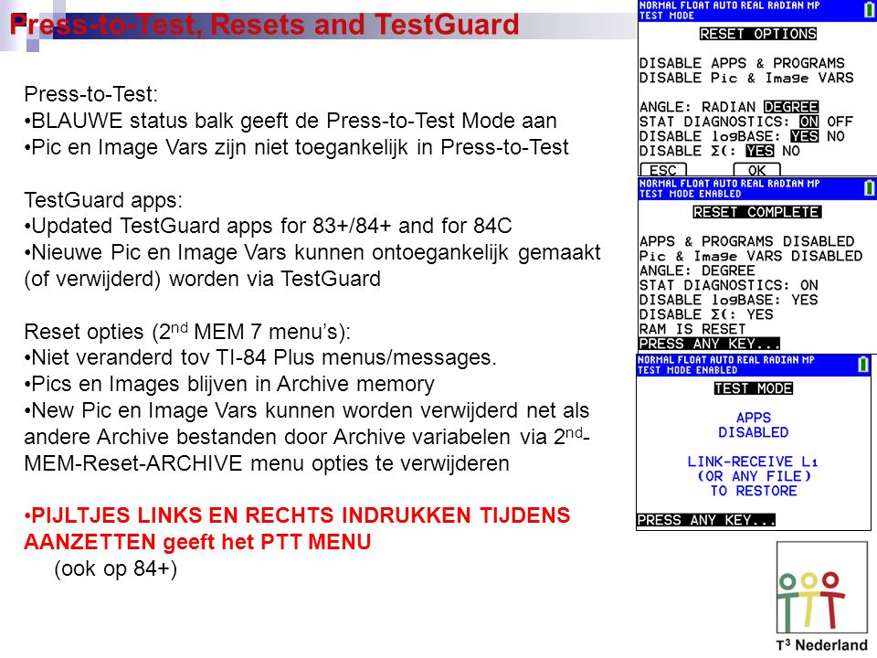 Press-to-Test, Resets and TestGuard