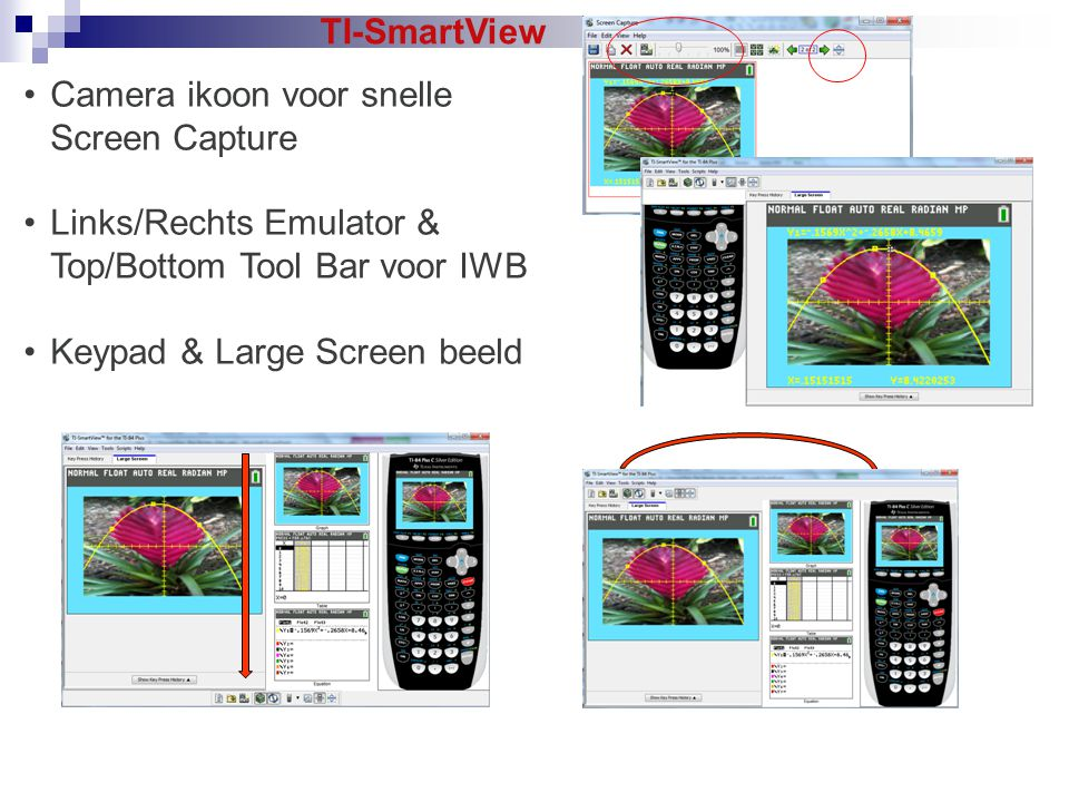 TI-SmartView Camera ikoon voor snelle Screen Capture. Links/Rechts Emulator & Top/Bottom Tool Bar voor IWB.