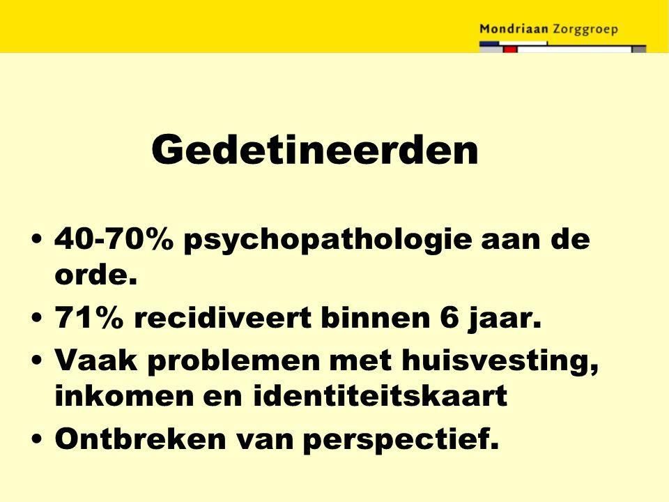 Gedetineerden 40-70% psychopathologie aan de orde.