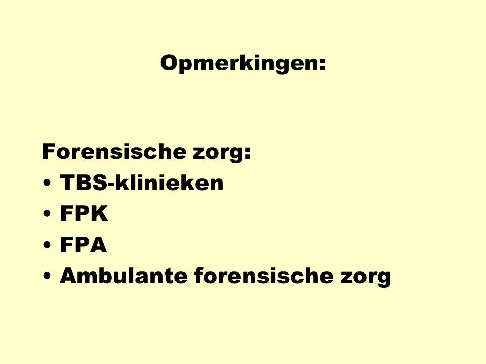 Opmerkingen: Forensische zorg: TBS-klinieken FPK FPA Ambulante forensische zorg