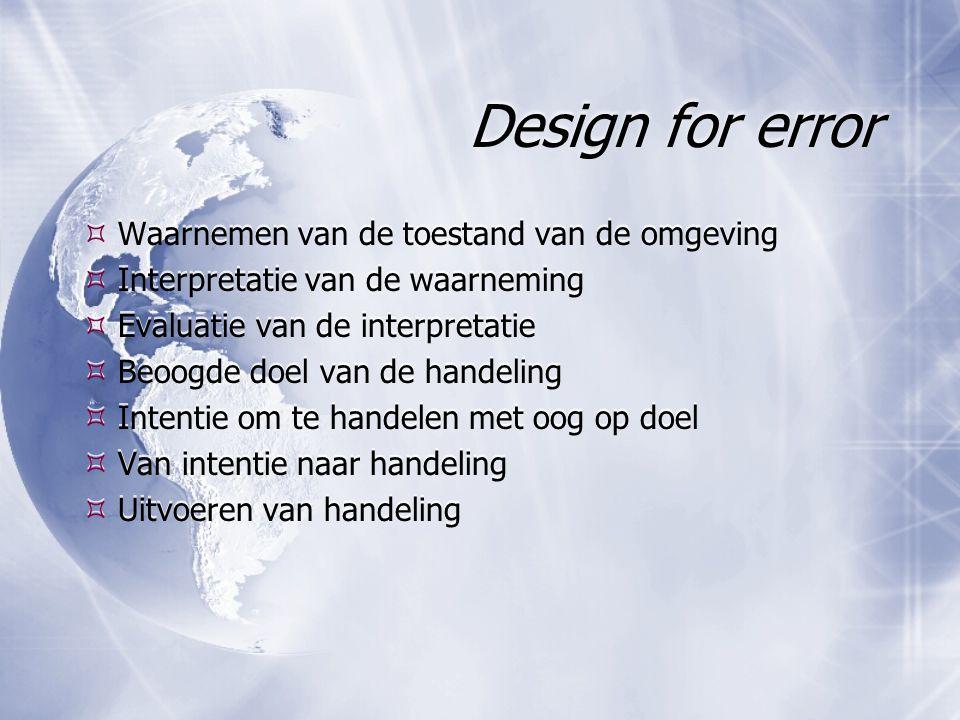 Design for error Waarnemen van de toestand van de omgeving