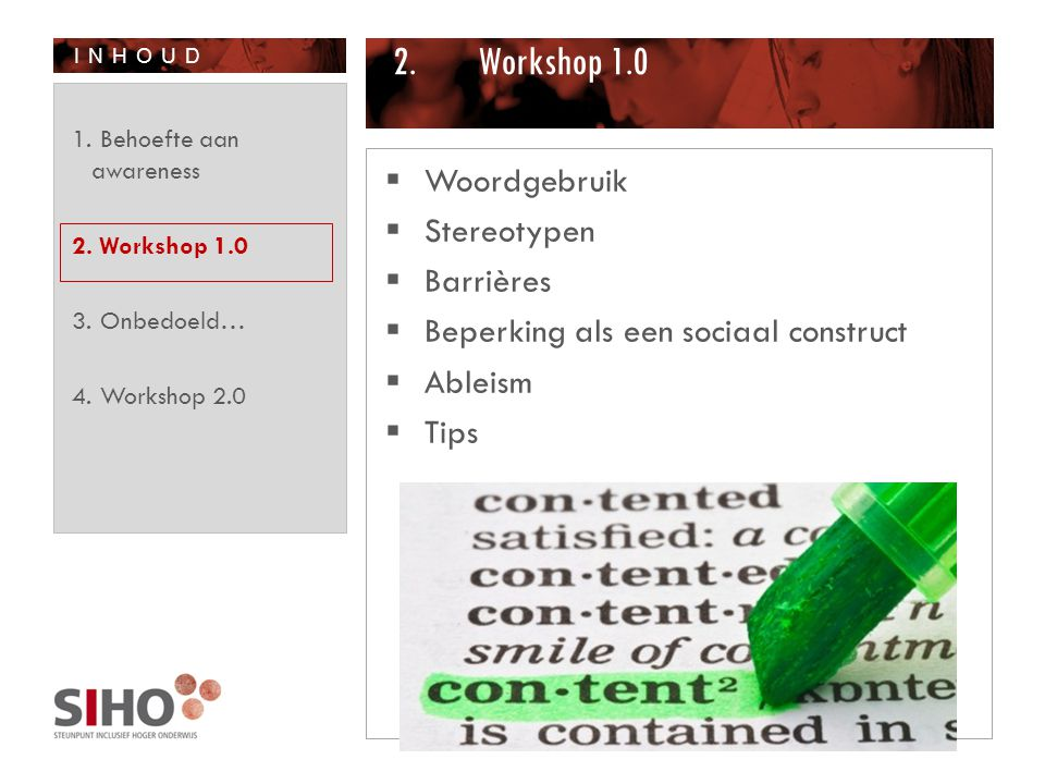 Workshop 1.0 Woordgebruik Stereotypen Barrières