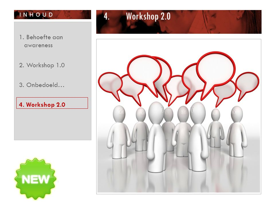 Workshop 2.0 Behoefte aan awareness Workshop 1.0 Onbedoeld…