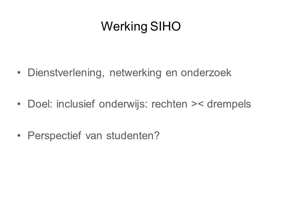 Werking SIHO Dienstverlening, netwerking en onderzoek