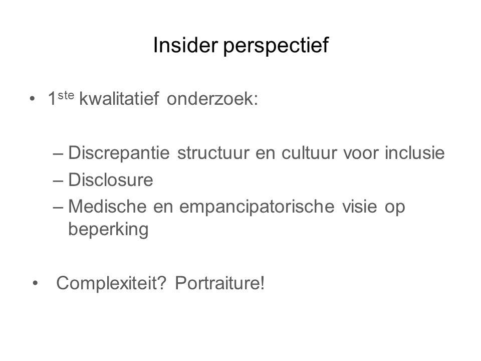 Insider perspectief 1ste kwalitatief onderzoek: