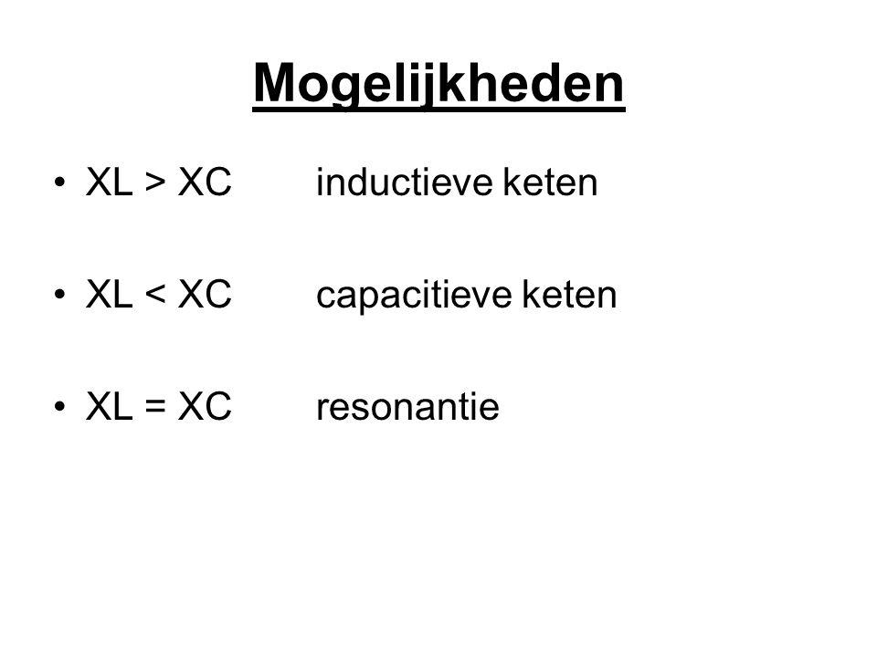 Mogelijkheden XL > XC inductieve keten XL < XC capacitieve keten