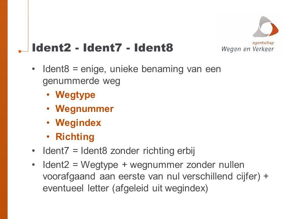 Ident2 - Ident7 - Ident8 Ident8 = enige, unieke benaming van een genummerde weg. Wegtype. Wegnummer.