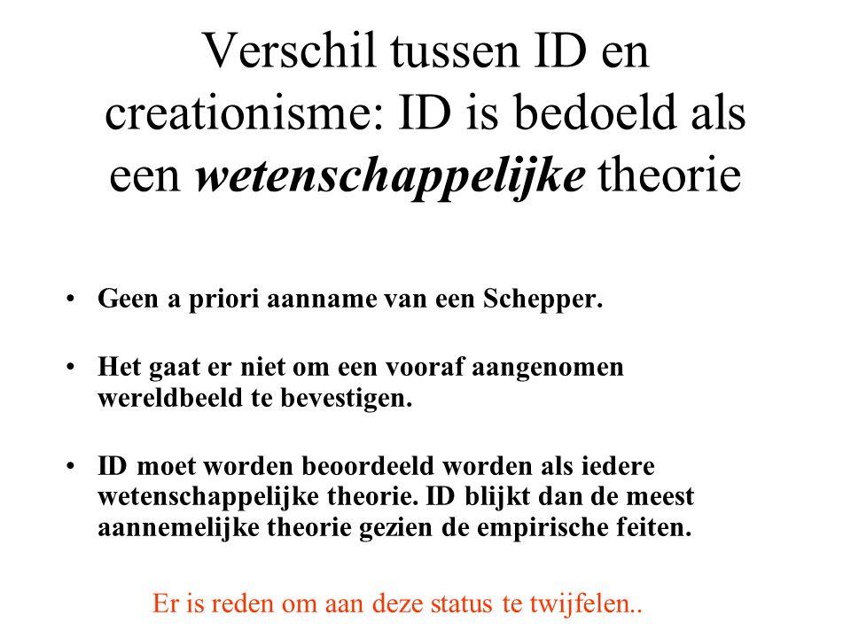Verschil tussen ID en creationisme: ID is bedoeld als een wetenschappelijke theorie