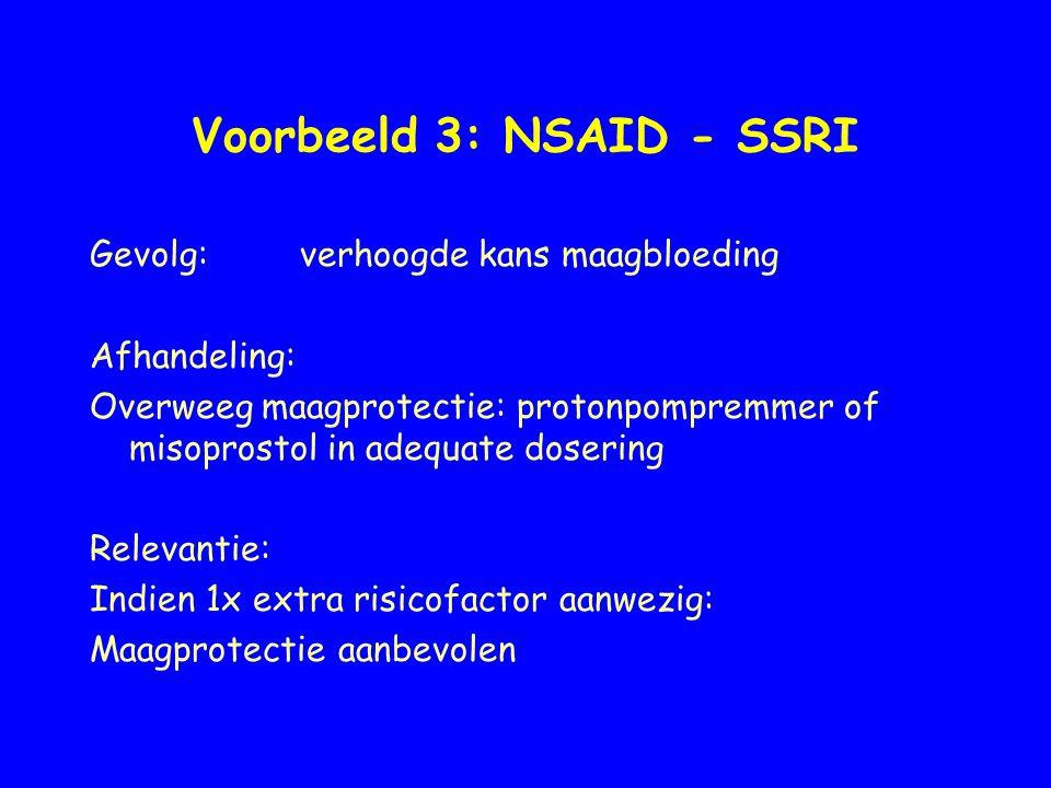 Voorbeeld 3: NSAID - SSRI