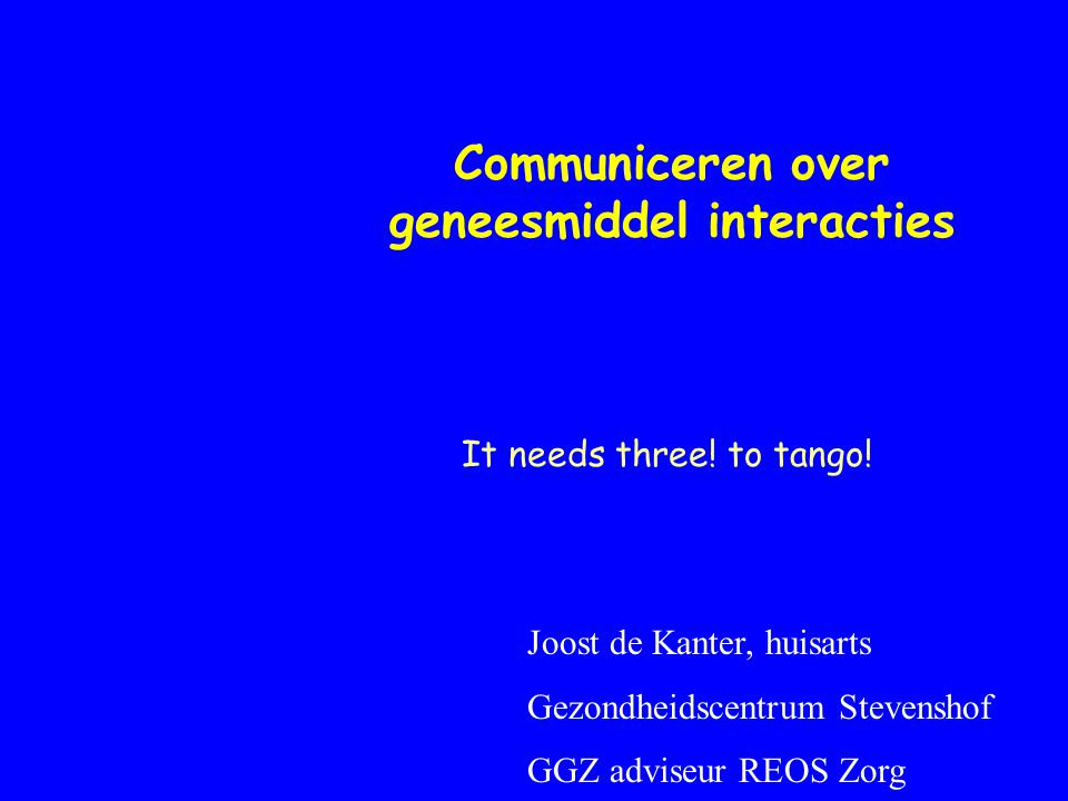 Communiceren over geneesmiddel interacties