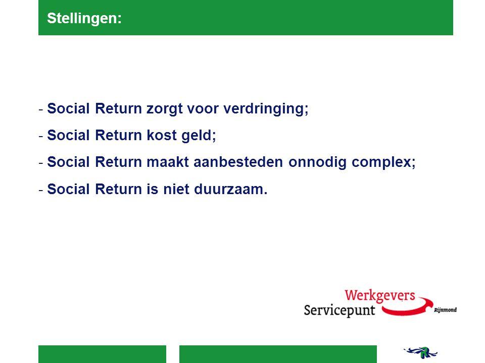 Stellingen: Social Return zorgt voor verdringing; Social Return kost geld; Social Return maakt aanbesteden onnodig complex;
