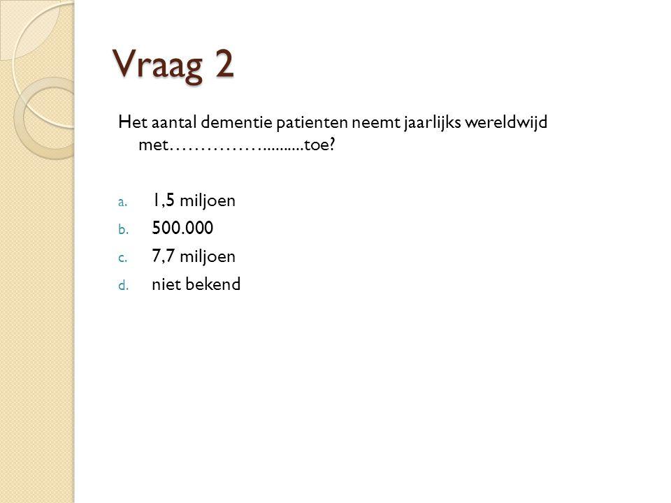 Vraag 2 Het aantal dementie patienten neemt jaarlijks wereldwijd met……………..........toe 1,5 miljoen.