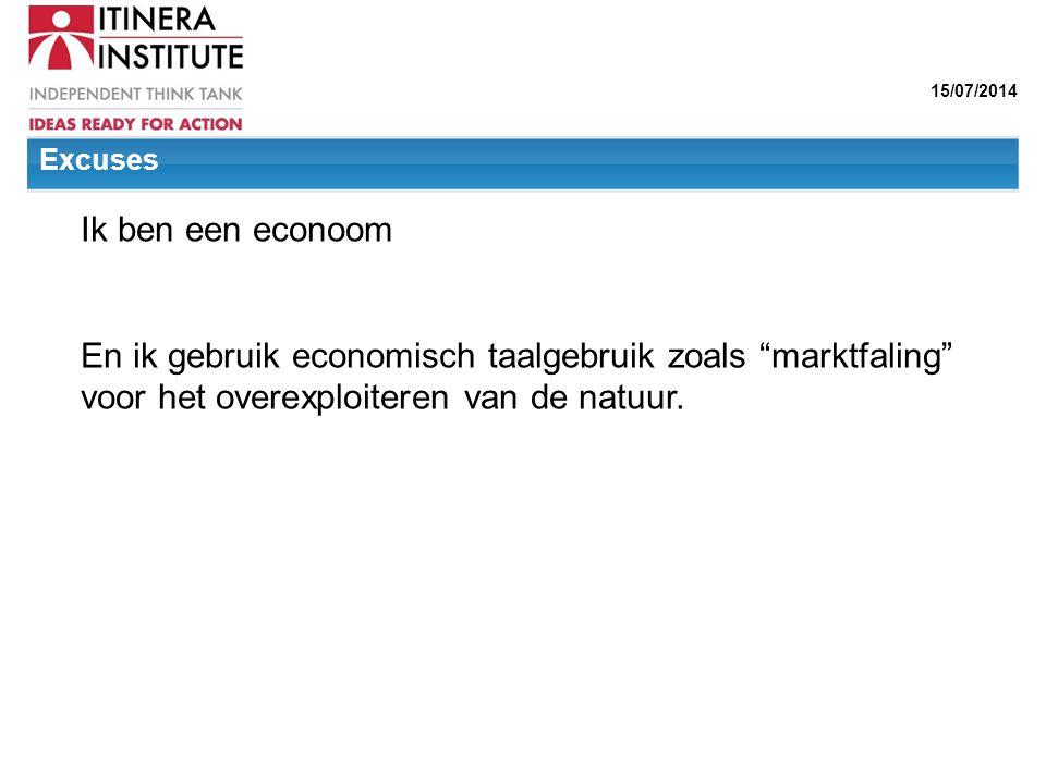 Ik ben een econoom En ik gebruik economisch taalgebruik zoals marktfaling voor het overexploiteren van de natuur.