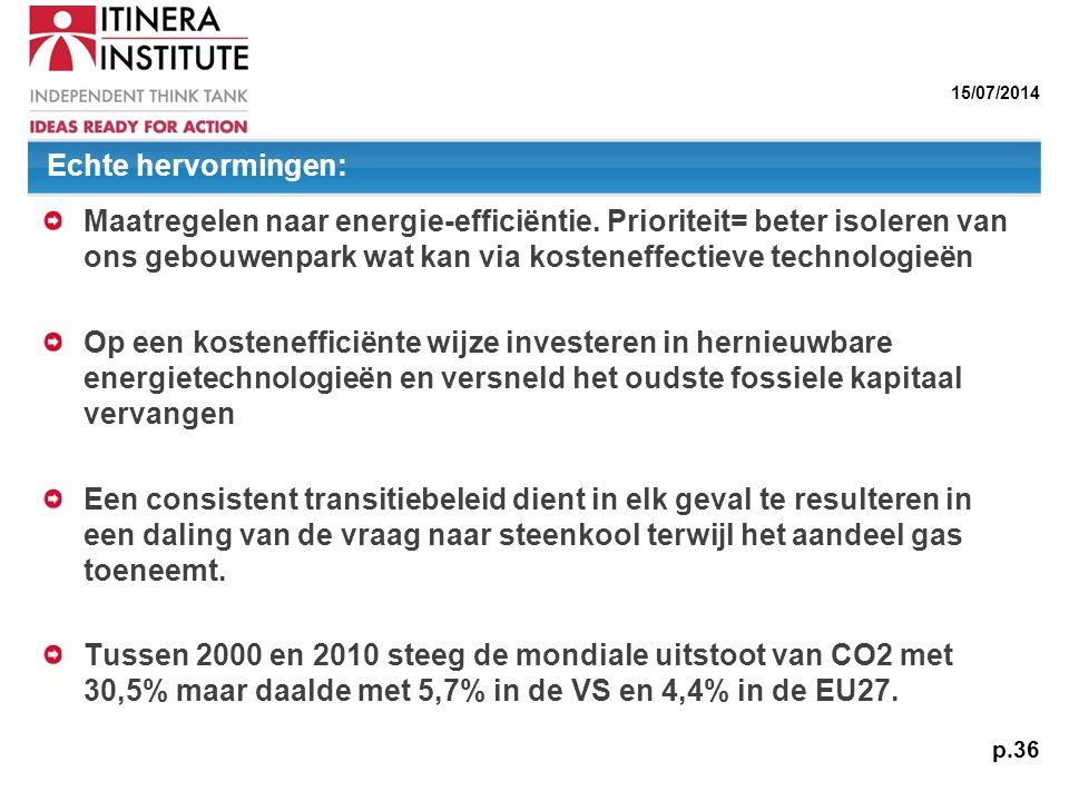 Echte hervormingen: Maatregelen naar energie-efficiëntie. Prioriteit= beter isoleren van ons gebouwenpark wat kan via kosteneffectieve technologieën.