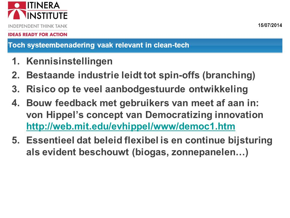 Toch systeembenadering vaak relevant in clean-tech
