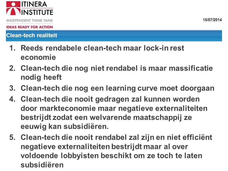 Reeds rendabele clean-tech maar lock-in rest economie
