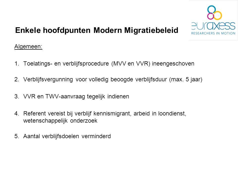 Enkele hoofdpunten Modern Migratiebeleid