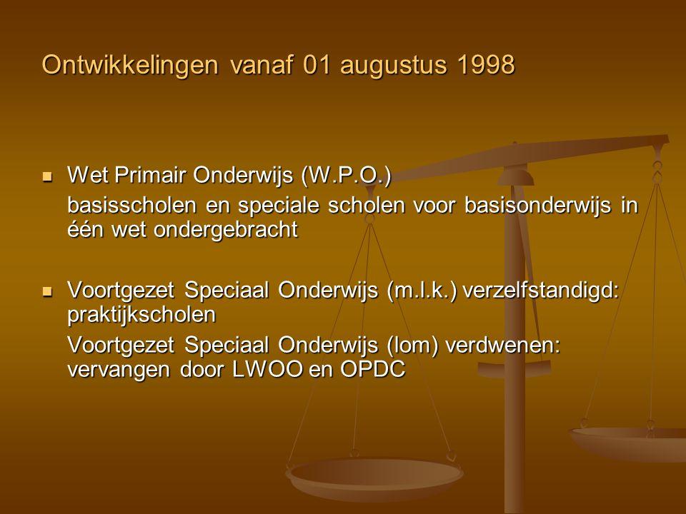 Ontwikkelingen vanaf 01 augustus 1998