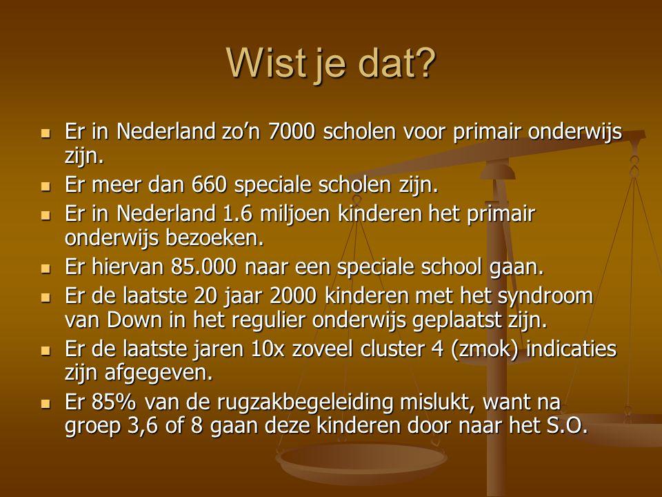 Wist je dat Er in Nederland zo'n 7000 scholen voor primair onderwijs zijn. Er meer dan 660 speciale scholen zijn.