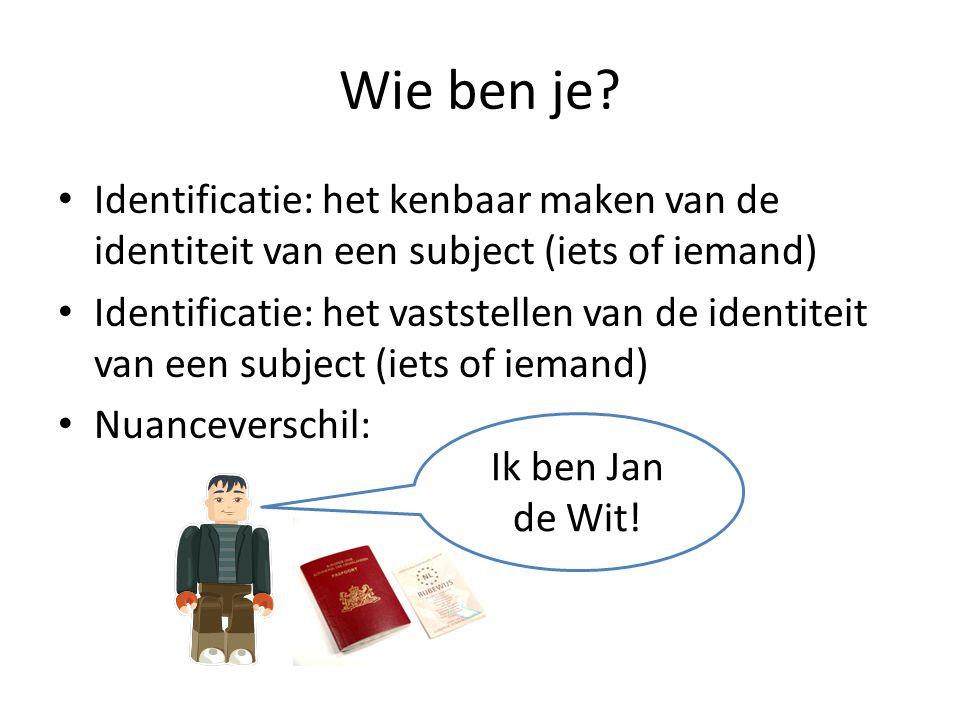 Wie ben je Identificatie: het kenbaar maken van de identiteit van een subject (iets of iemand)
