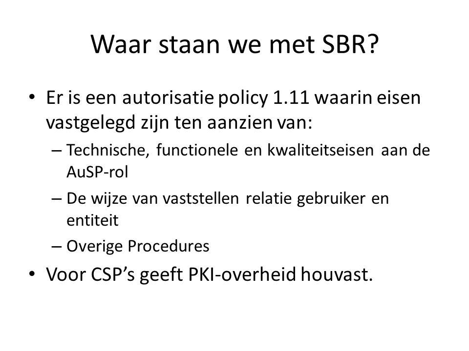 Waar staan we met SBR Er is een autorisatie policy 1.11 waarin eisen vastgelegd zijn ten aanzien van: