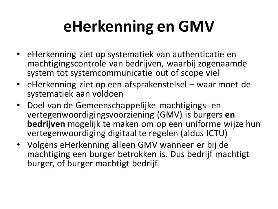 eHerkenning en GMV