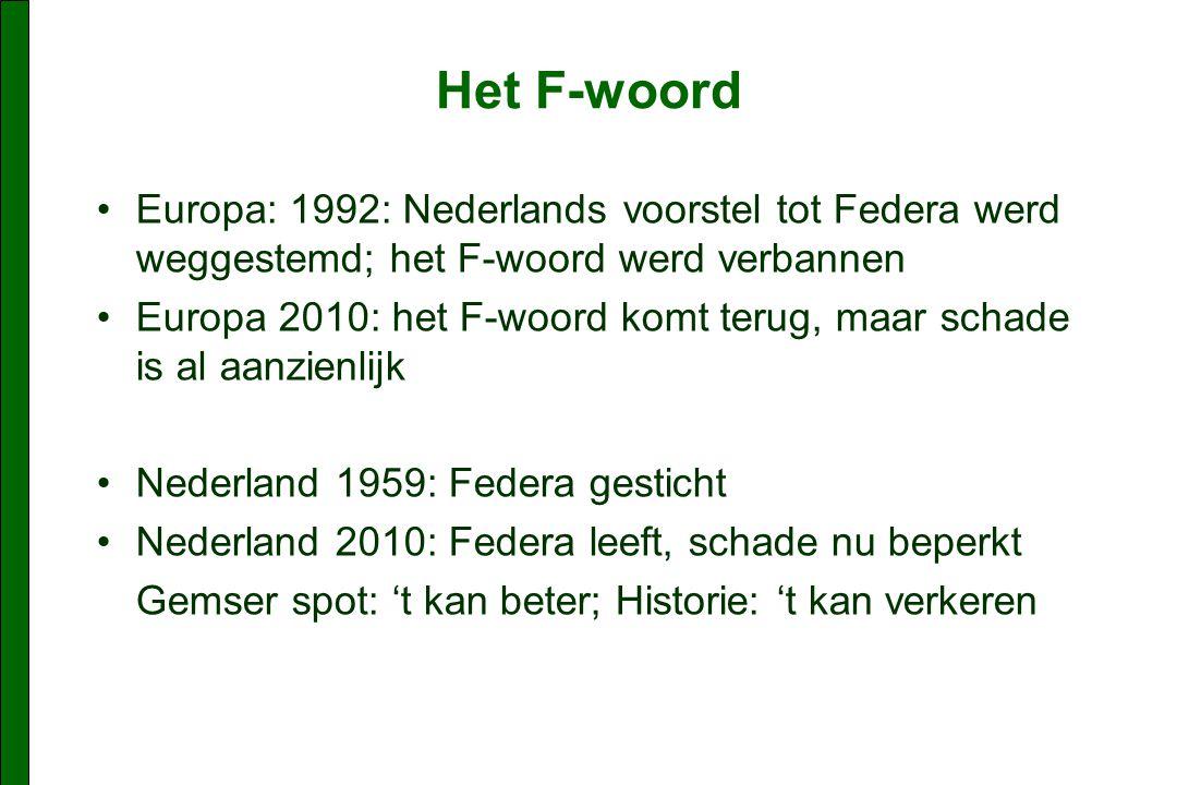 Het F-woord Europa: 1992: Nederlands voorstel tot Federa werd weggestemd; het F-woord werd verbannen.