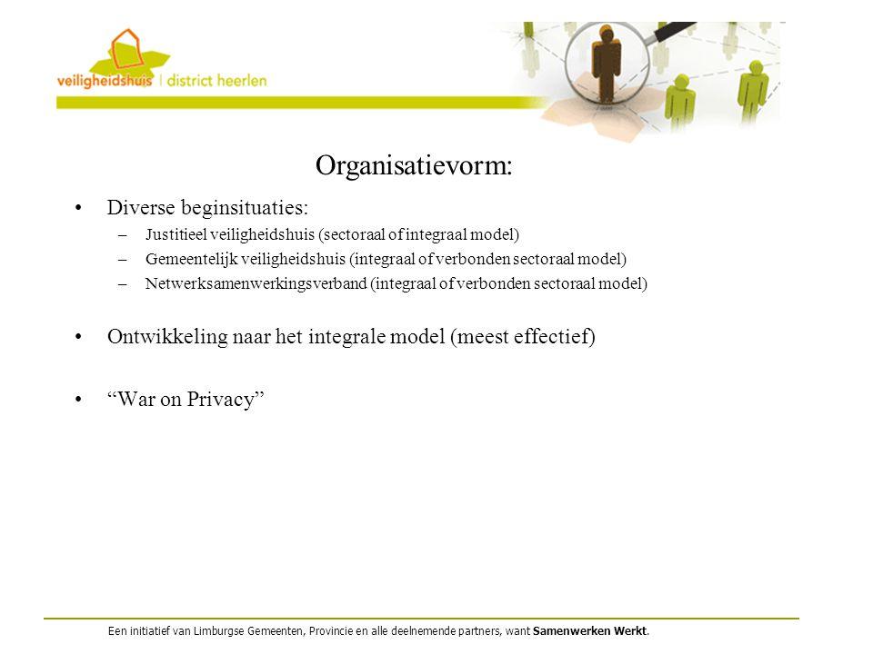 Organisatievorm: Diverse beginsituaties: