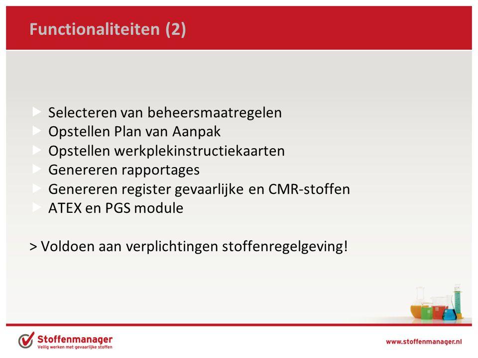 Functionaliteiten (2) Selecteren van beheersmaatregelen