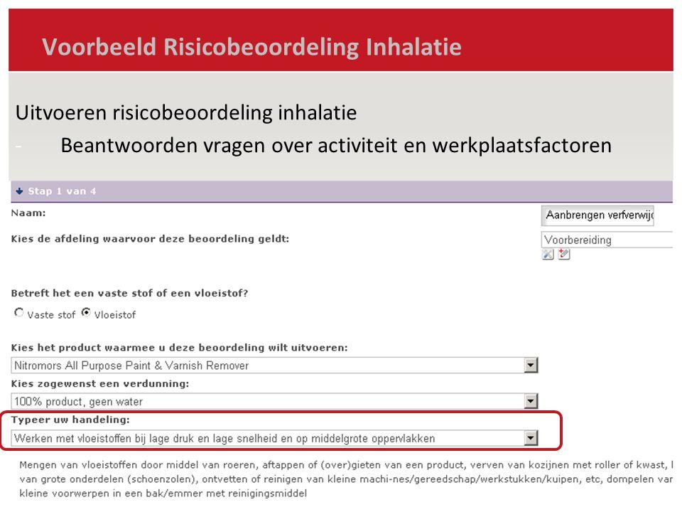 Voorbeeld Risicobeoordeling Inhalatie