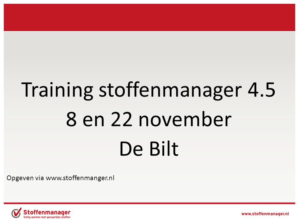 Training stoffenmanager 4.5