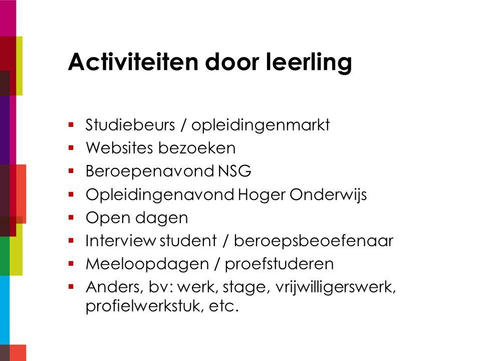 Activiteiten door leerling