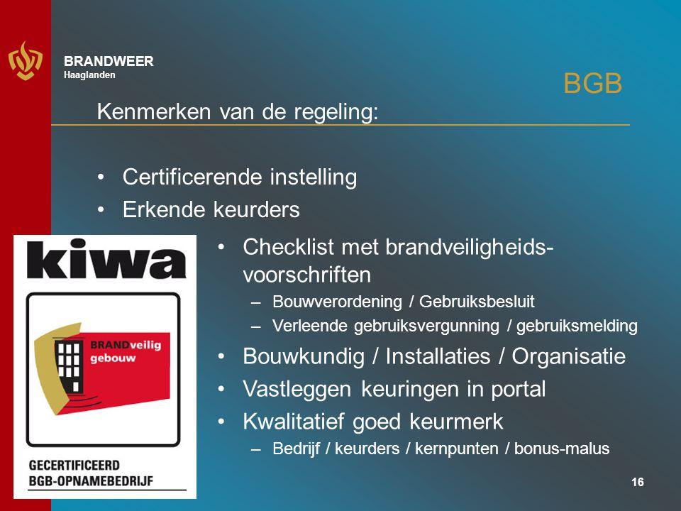 BGB Kenmerken van de regeling: Certificerende instelling