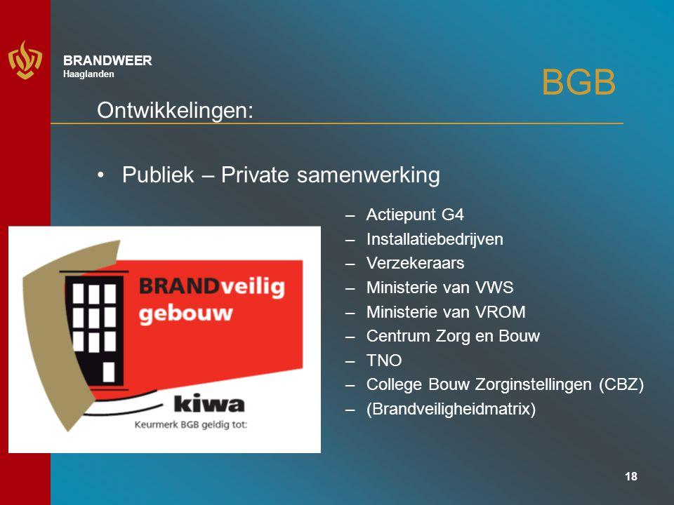 BGB Ontwikkelingen: Publiek – Private samenwerking Actiepunt G4
