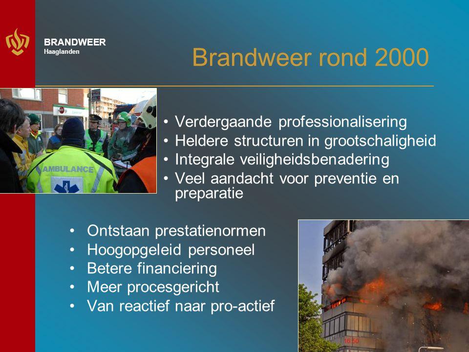 Brandweer rond 2000 Verdergaande professionalisering