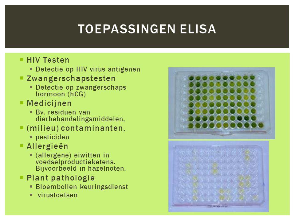 Toepassingen ELISA HIV Testen Zwangerschapstesten Medicijnen
