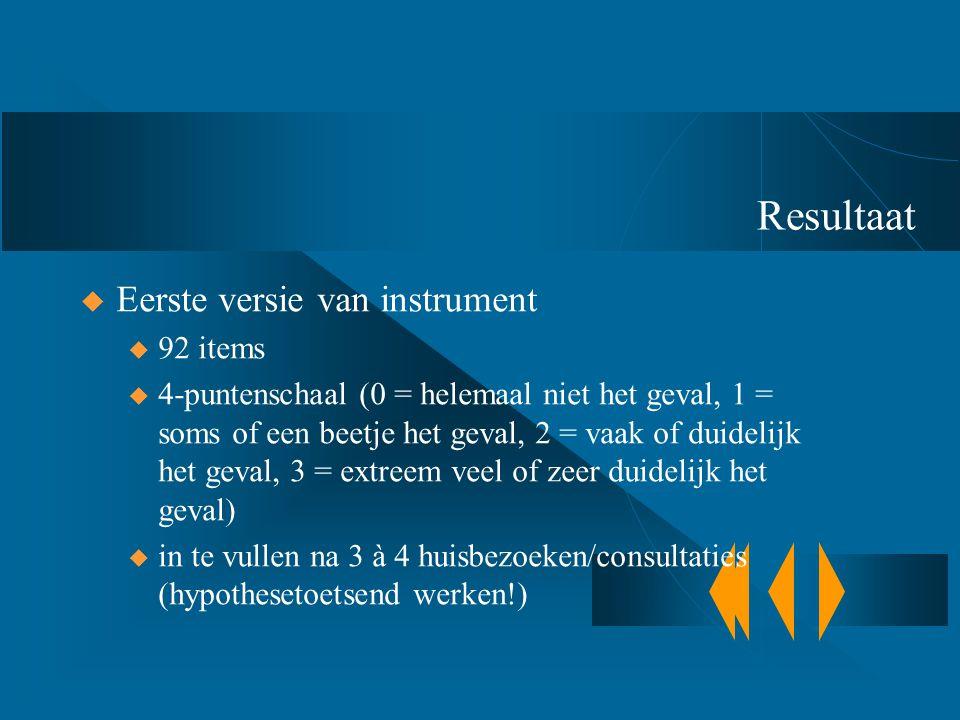 Resultaat Eerste versie van instrument 92 items
