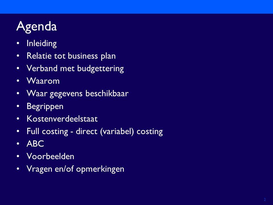 Agenda Inleiding Relatie tot business plan Verband met budgettering