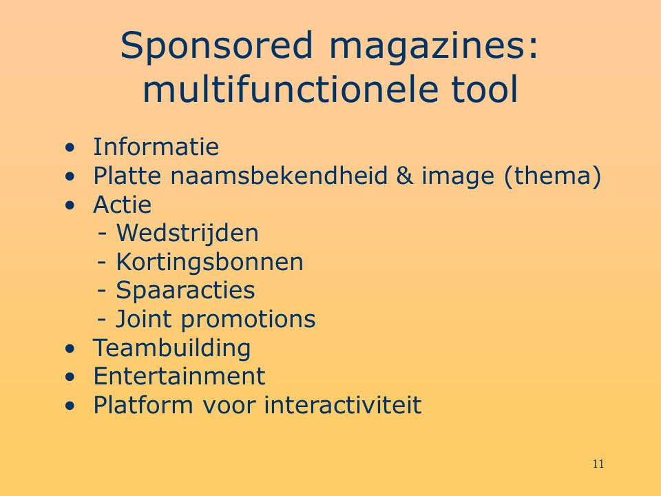 Sponsored magazines: multifunctionele tool