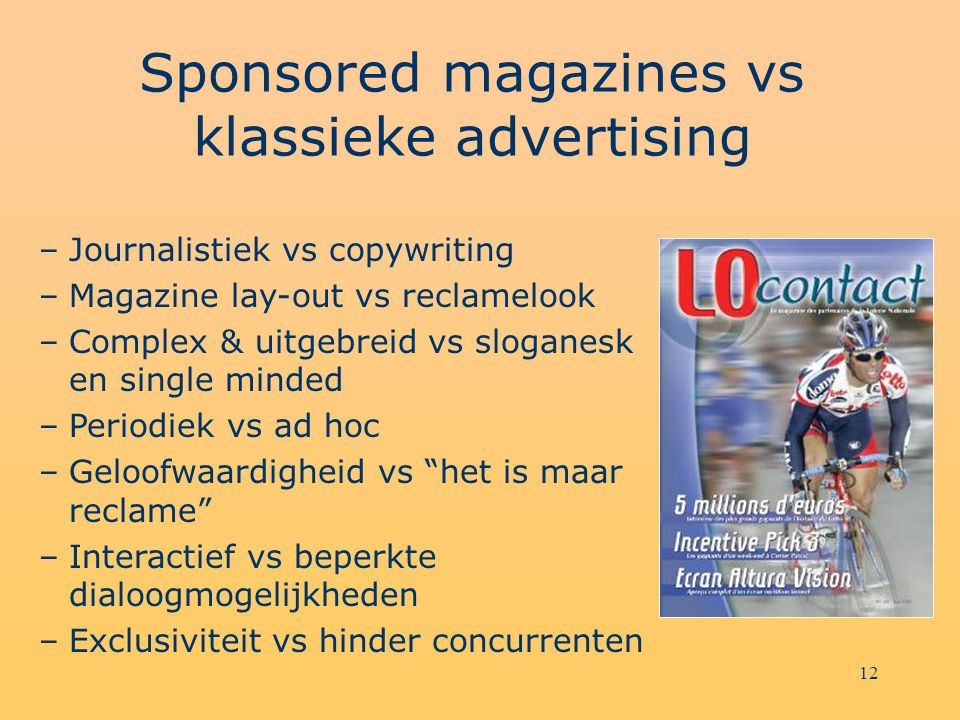 Sponsored magazines vs klassieke advertising